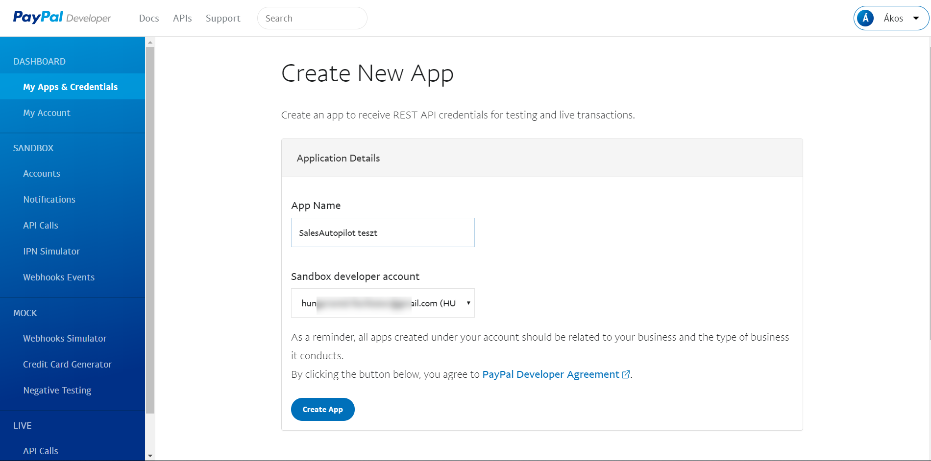 PayPal create app