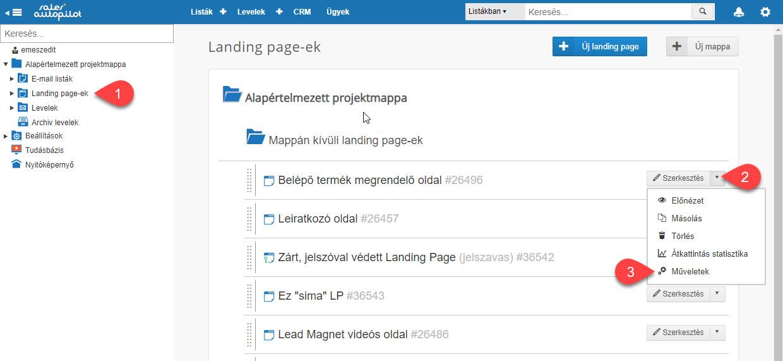Landing Page művelet törlése