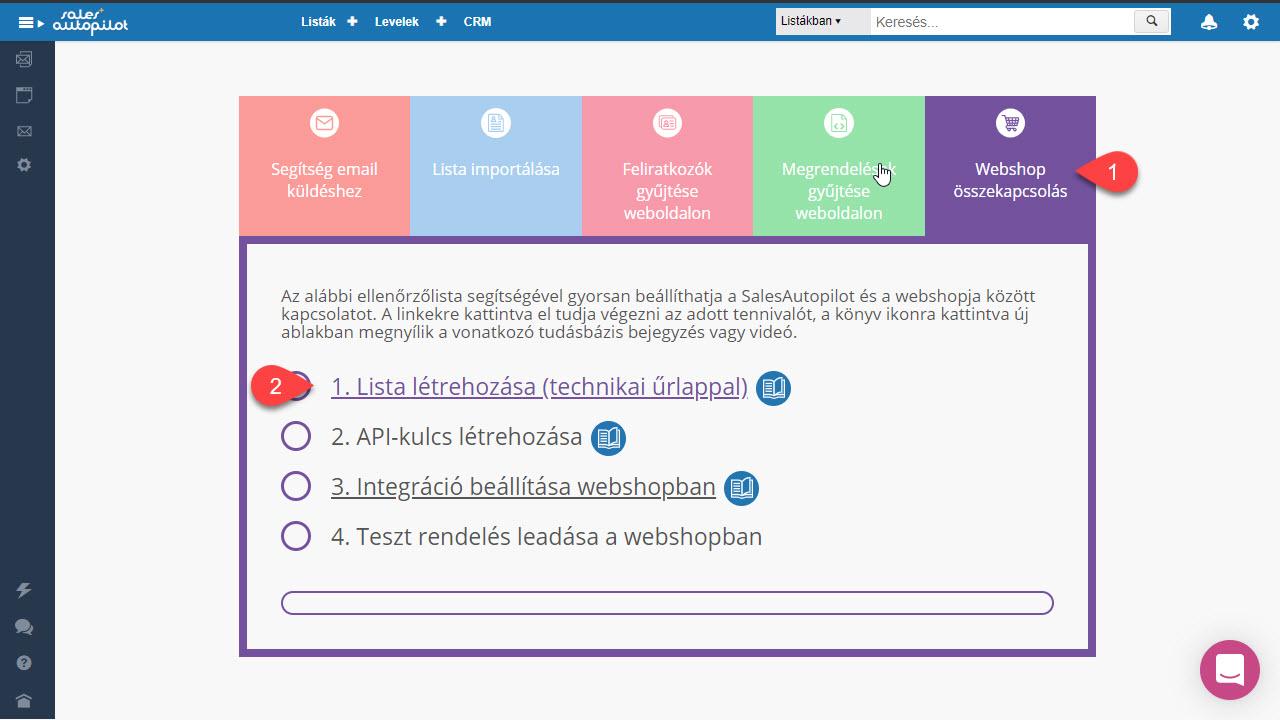 webshop integrációs beállítások