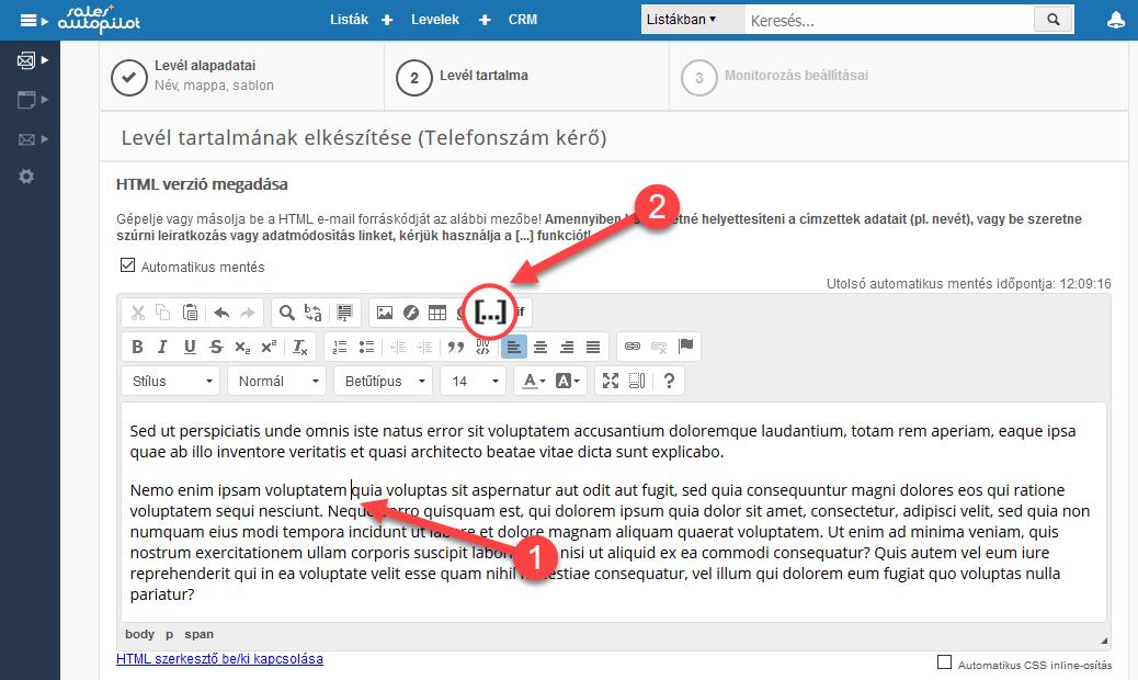 Adatmódosító űrlap linkjének beszúrása html levélbe - 1