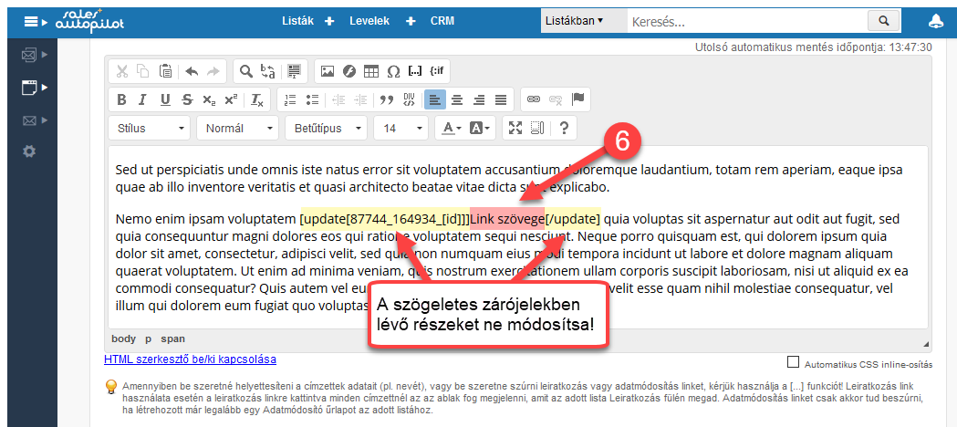 Adatmódosító űrlap linkjének beszúrása html levélbe - 4