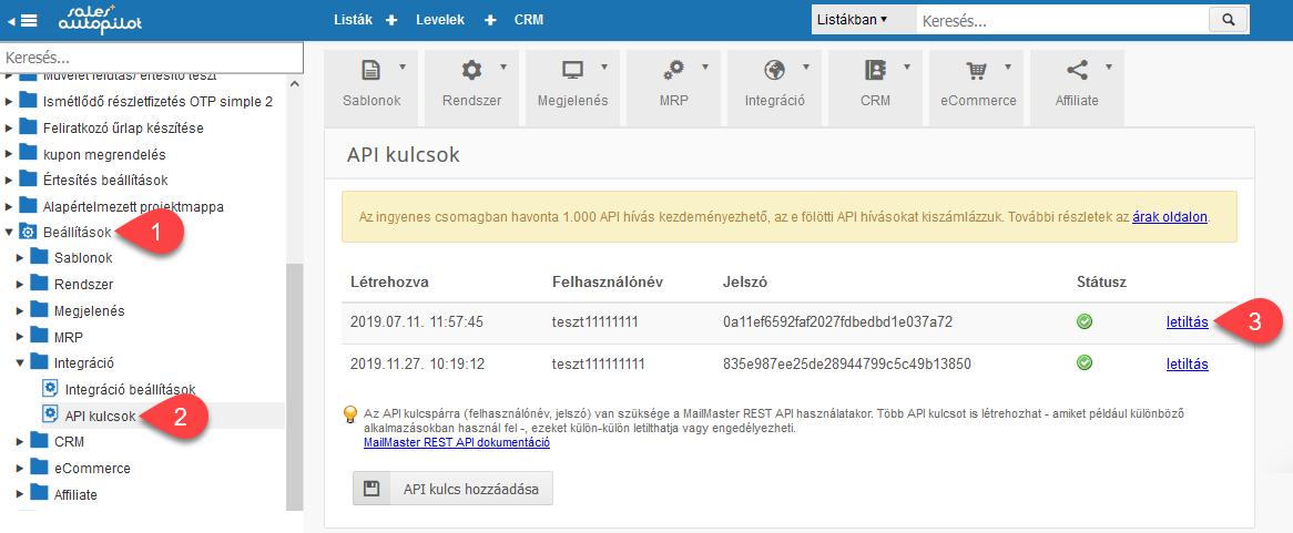 API kulcspárok ellenőrzése