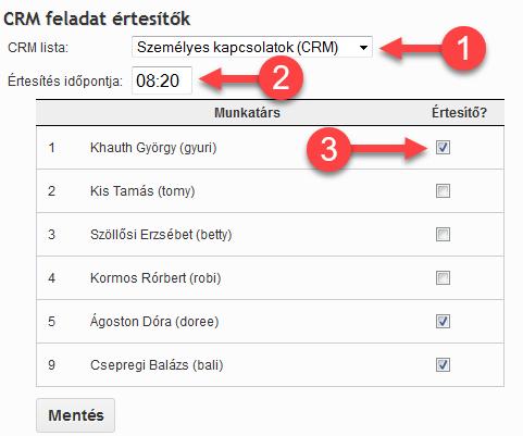 CRM feladat értesítő beállítása - 1