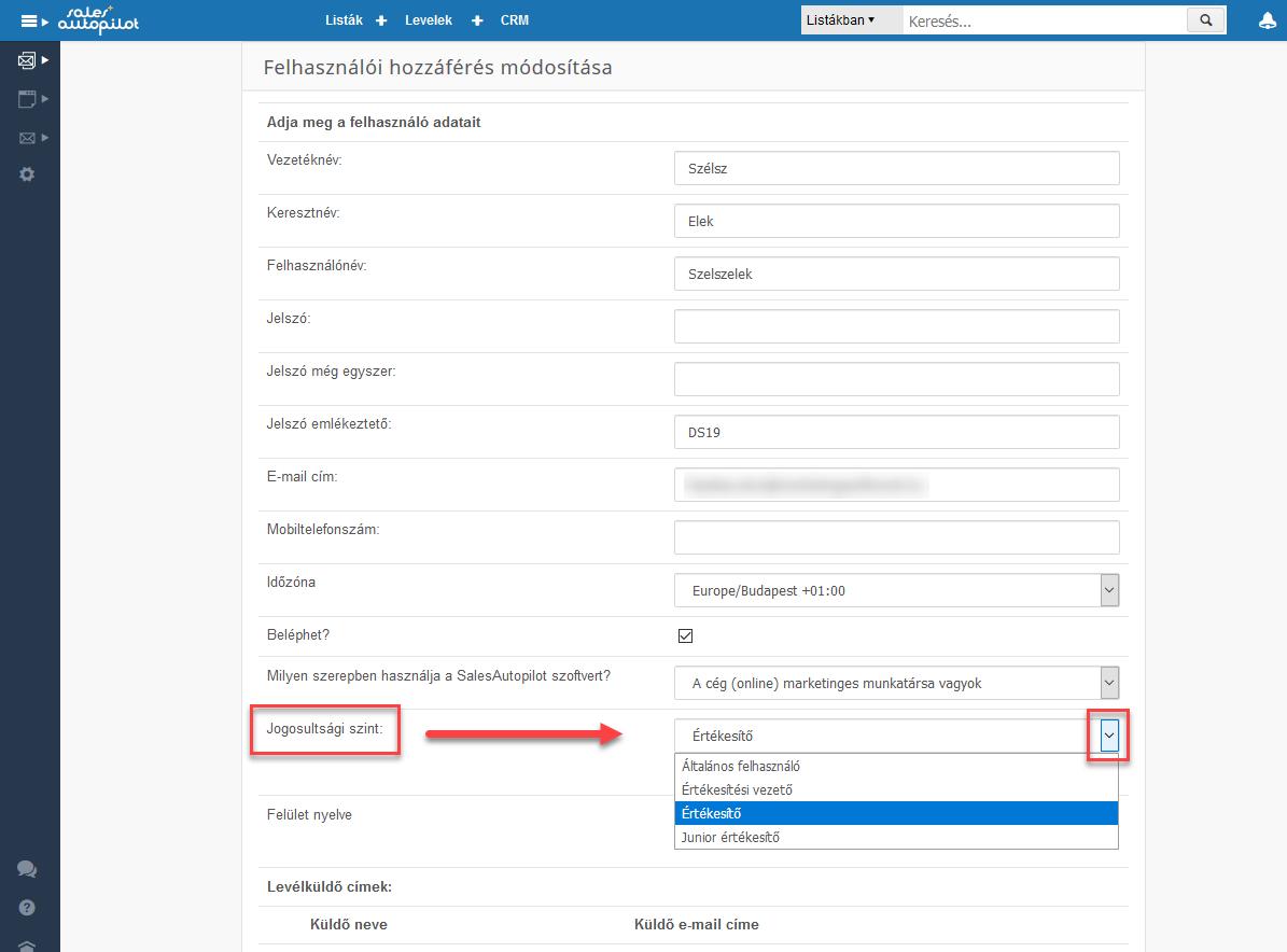 CRM jogosultásgú felhasználók beállítása - 3