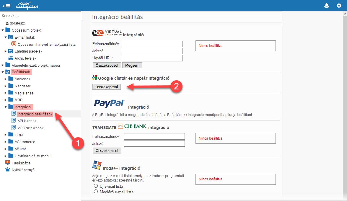 CRM lista szinkronizálása Google Contacts-szal - 1