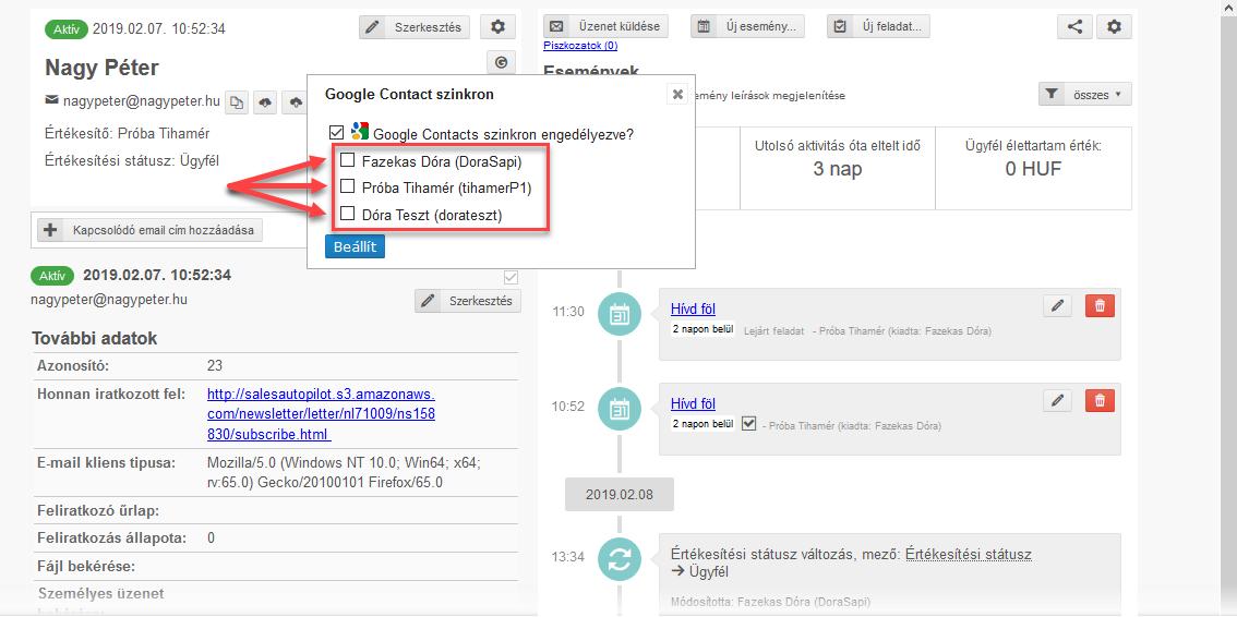 CRM lista szinkronizálása Google Contacts-szal - 6