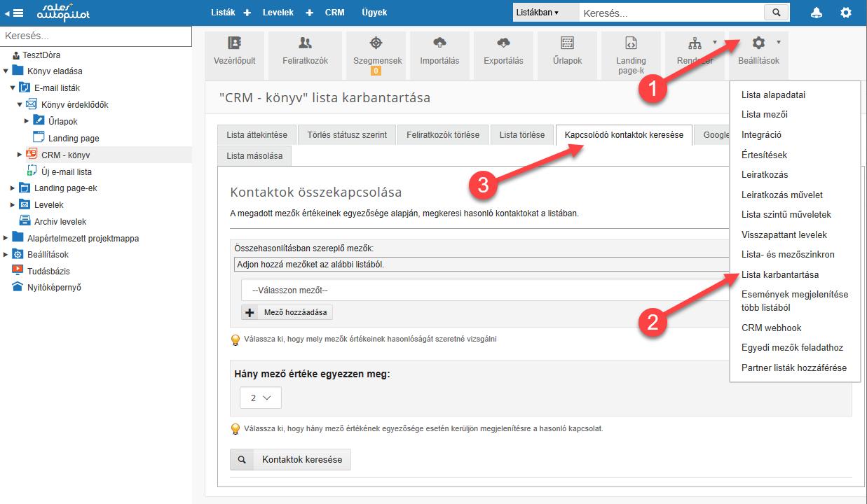 CRM kapcsolódó kontaktok keresése - 1