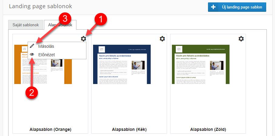 Landing page sablon létrehozása - 2
