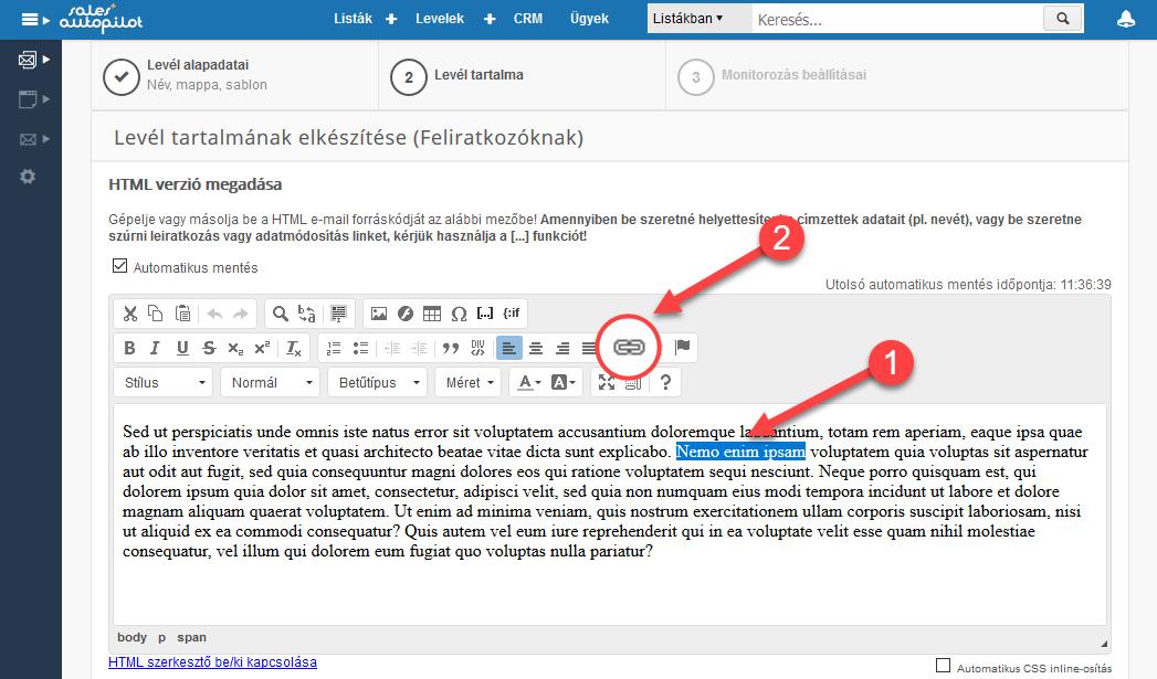 Link beszúrása html levélbe - 1