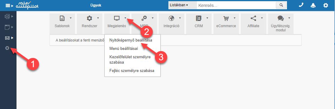 Nyitóképernyő beállítása