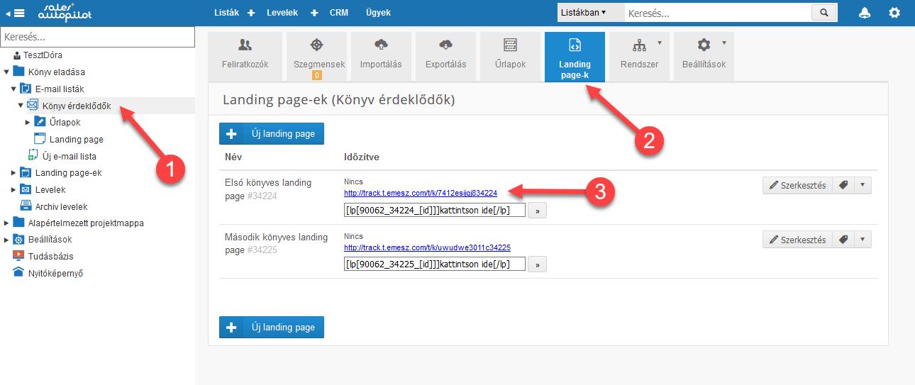 Landing page publikus verziójának webcíme