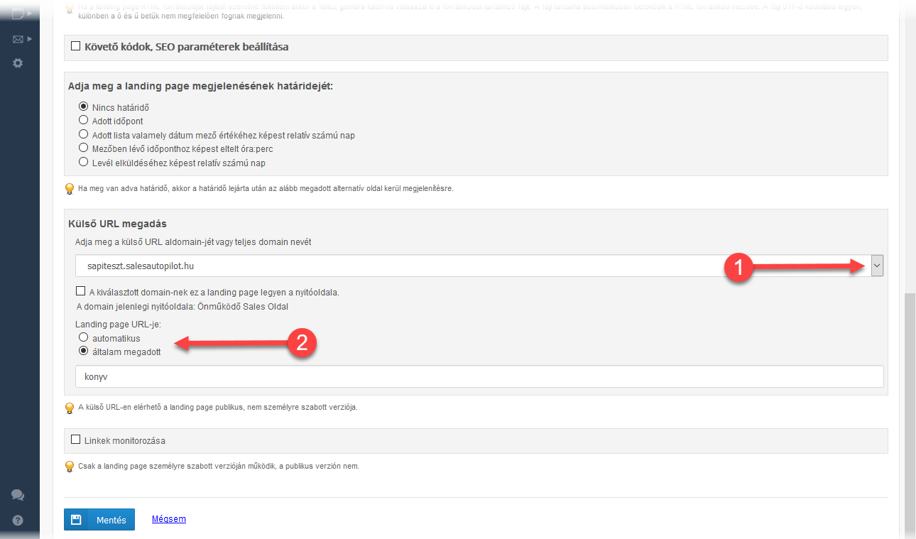 Landing page publikus verziója saját domainen - 1